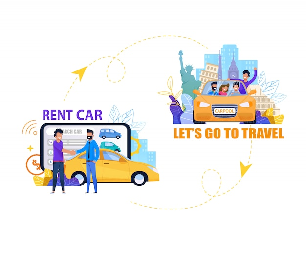Rent car for travel banner. summer journey. flat