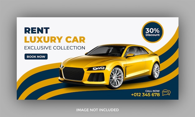 Rent car web banner and facebook post template
