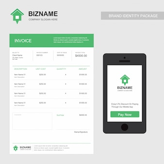 Rent company invoice and mobile app