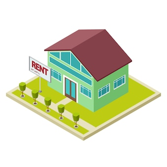 Rent cottage or house isometric  concept