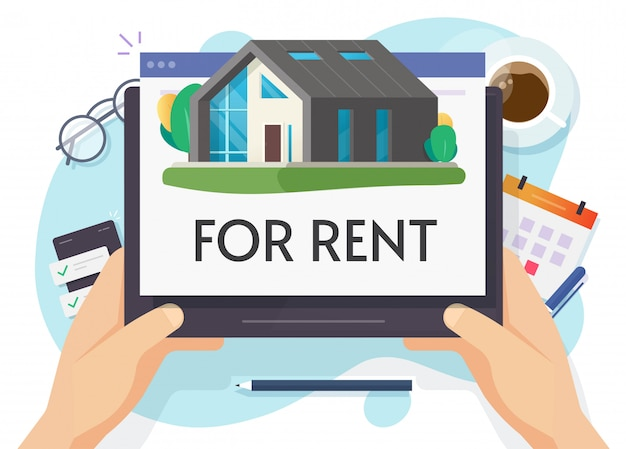 Rent a house or home apartment rental online on digital computer flat cartoon illustration