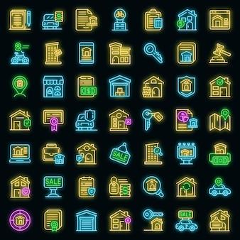 Rent icons set vector neon