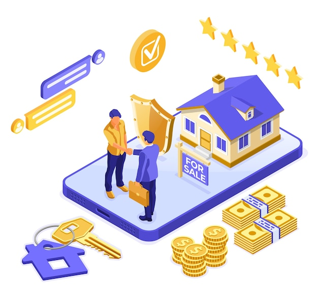 Rent or mortgage house isometric concept