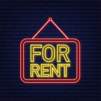 For rent red neon sign on blue background. house, property, rent. vector stock illustration