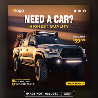 Rent and sell car for social media instagram post banner modern template or square flyer