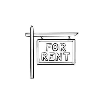 For rent sign hand drawn outline doodle icon. real estate, advertising, house rent, property concept. vector sketch illustration for print, web, mobile and infographics on white background.