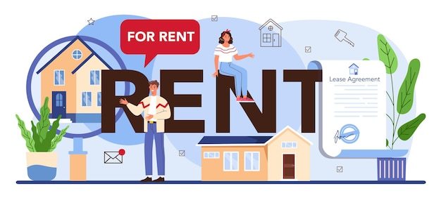 Rent typographic header. real estate agency, qualified realtor or broker help customer. property leasing, tenant searching. flat vector illustration