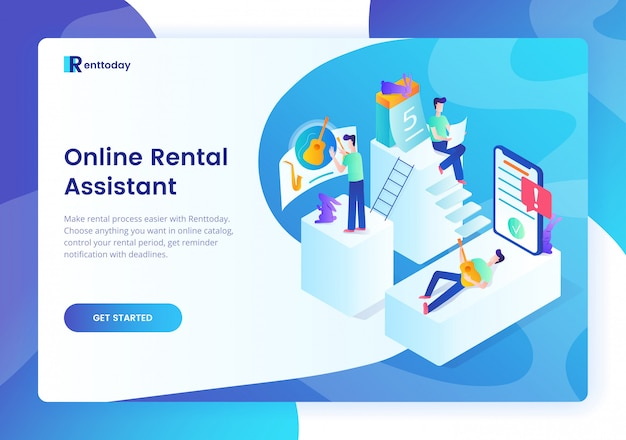 Rental assistance colorful landing page template