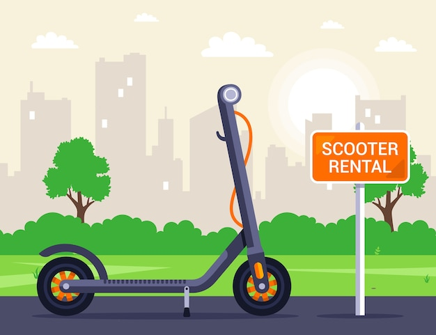 Rental on the street of an electric scooter. outdoor activities. arenade sign. flat illustration