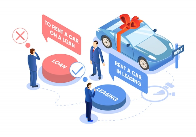 Renting car on loan or leasing choice illustration.