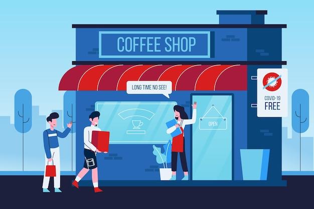 Reopen economy after coronavirus coffee shop