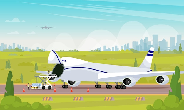 Repair aircraft in parking lot flat illustration.