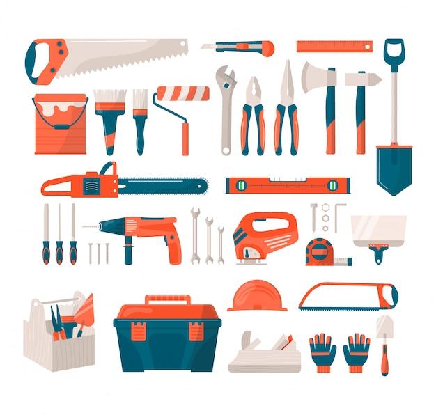 Набор иконок инструментов ремонта и строительства, иллюстрации. строительные инструменты, такие как молоток, топор, линейка и отвертка, топор для дома и инструменты для ремонта дома. починить фурнитуру для ремонта дома.