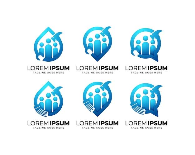 修理およびメンテナンスグループのロゴデザインセット