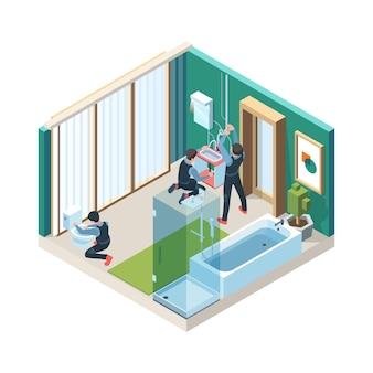 バスルームを修理します。配管工の労働者は、等尺性の洗濯室の概念図にパイプラインを設置します。