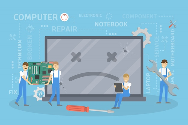 Repair of broken computer. Premium Vector