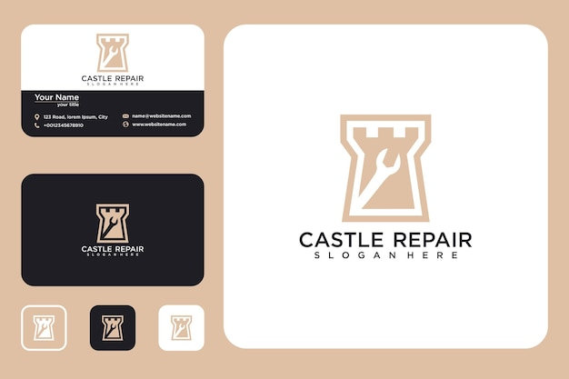 Repair castle logo design and business card
