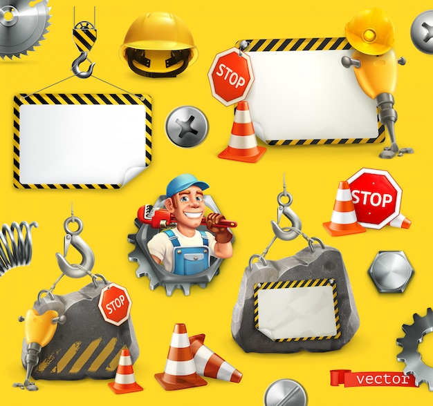 Repair and under construction, vector elements set