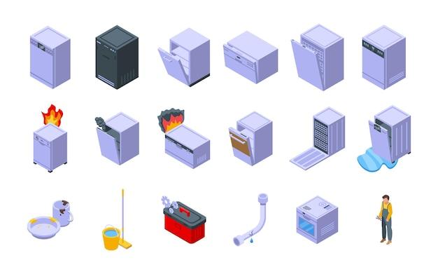 수리 식기 세척기 아이콘 아이소메트릭 벡터를 설정합니다. 난방 배관공. 수리 서비스