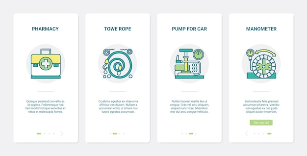 Repair equipment for car line service ux ui onboarding mobile app page screen set.