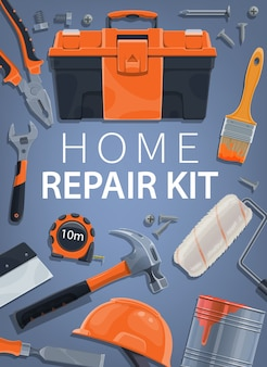 Repair, home construction tools kit, building toolbox and equipment