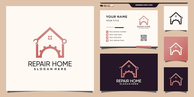 Repair home logo with unique line art style and business card design premium vector