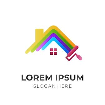 수리 집 로고, 집 및 페인트, 3d 다채로운 스타일의 조합 로고