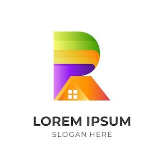 家のロゴ、文字 r と家、3 d のカラフルなスタイルの組み合わせのロゴ Premiumベクター