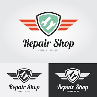 Repair icon, repair logo with shield and wings