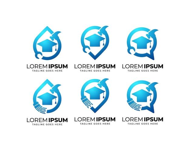Repair and maintenance education logo design set
