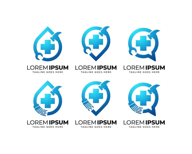 Repair and maintenance service logo design set