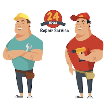 Repair man with wrench and drill in hand. plumber, mechanic or handyman in work clothes.
