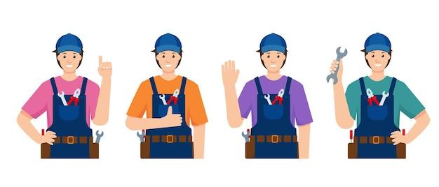 다른 포즈와 제스처로 남성이나 건설 노동자를 수리하십시오.