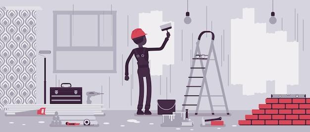 アパートの修理、壁の塗装作業員。男は、コテージの家、オフィス、家を良好な状態に戻す、室内装飾のための専門的なサービスを提供します。ベクトルイラスト、顔のない文字