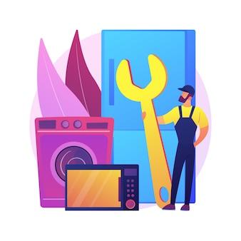 家電の修理抽象的な概念図。保証サービス、家庭用マスターのメンテナンス、ヒントとガイドライン、修理ツール、修理方法のビデオ。