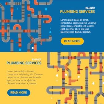 Repair plumbing service banner horizontal set for advertising business quality engineering work. vector illustration