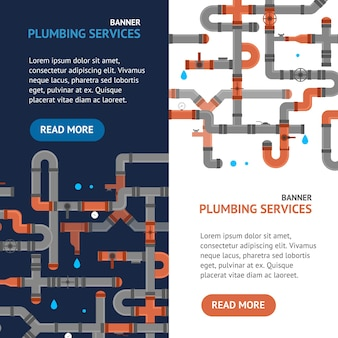 Repair plumbing service banner set professional engineering concept for web installation of pipes. vector illustration