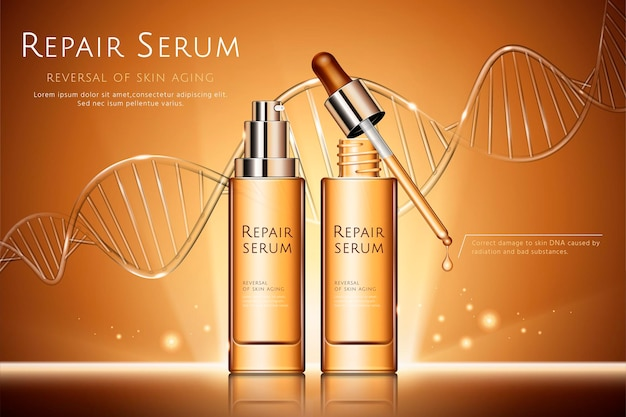 Repair serum   with droplet bottles and glass texture dna strand