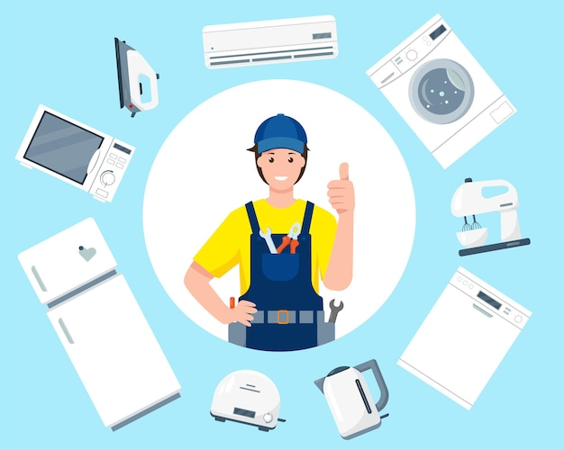 Repair service concept friendly smiling repair man character in uniform and household appliances