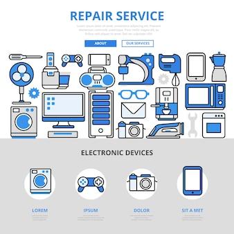 Ремонт электронных домашних кухонных компьютерных устройств услуги по ремонту бизнес-концепции в стиле плоской линии.