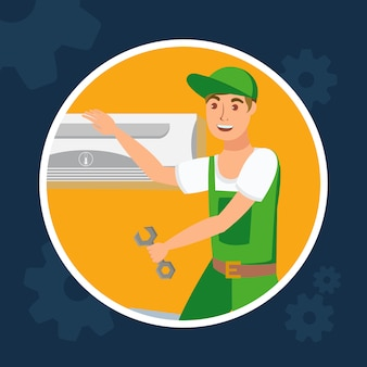 Repair service flat design vector illustration.