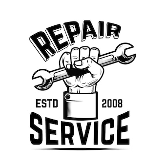 修理サービス。レンチで人間の手。ロゴ、ラベル、エンブレム、記号の要素。画像