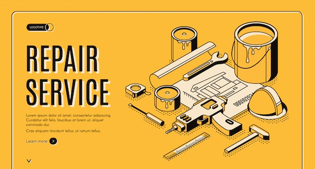 Repair service isometric banner