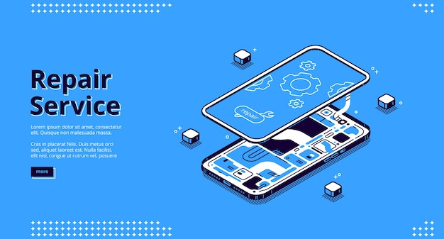 Repair service isometric landing page, disassembled mobile phone fixing, smashed smartphone with microcircuit and screen with gears, broken electronics device touchscreen 3d line art web banner