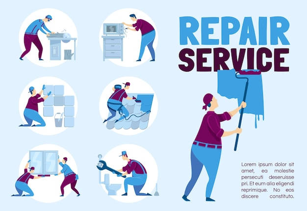 Repair service poster flat template. plumber with wrench. carpenter with trunk. brochure, booklet one page concept design with cartoon characters. professional handyworker flyer, leaflet