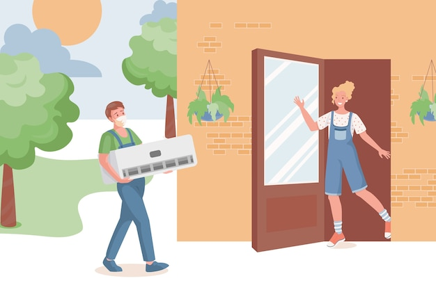 Специалист по ремонту привезет кондиционер в загородный дом