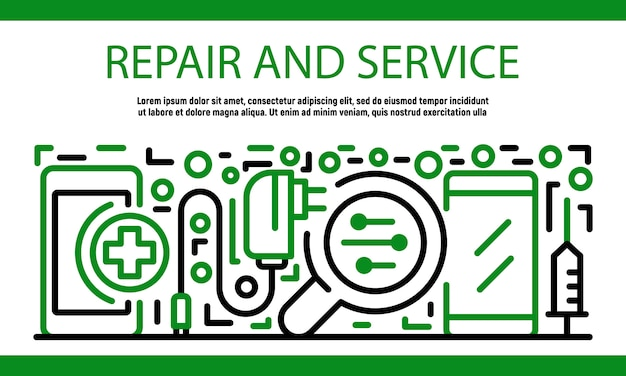 Repair and service smartphone banner, outline style
