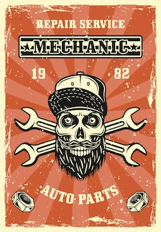 Repair service or workshop poster in vintage style with bearded skulll in cap vector illustration. layered, separate grunge textures and text