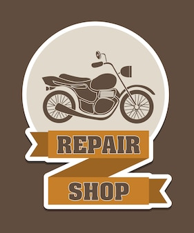 Repair shop over brown background vector illustration