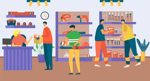 Ремонтная мастерская с иллюстрацией человека людей. метизы инструмент для строительства, поиск людей инструмента в магазине, мастерской. закупка под ремонт, интерьерный ассортимент.